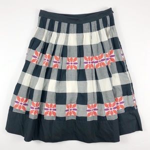 Floreat Anthro Plaid Embroidered Do Si Do Skirt